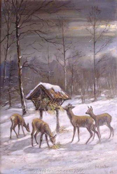 Herten in de winter