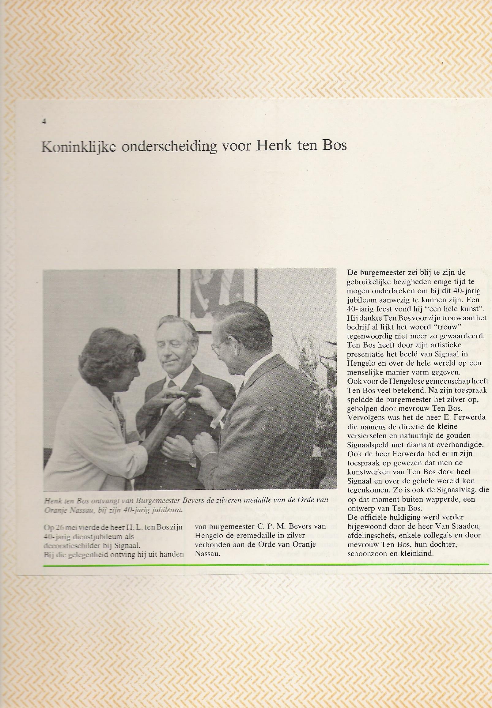 Koninklijke onderscheiding voor H.L. ten Bos