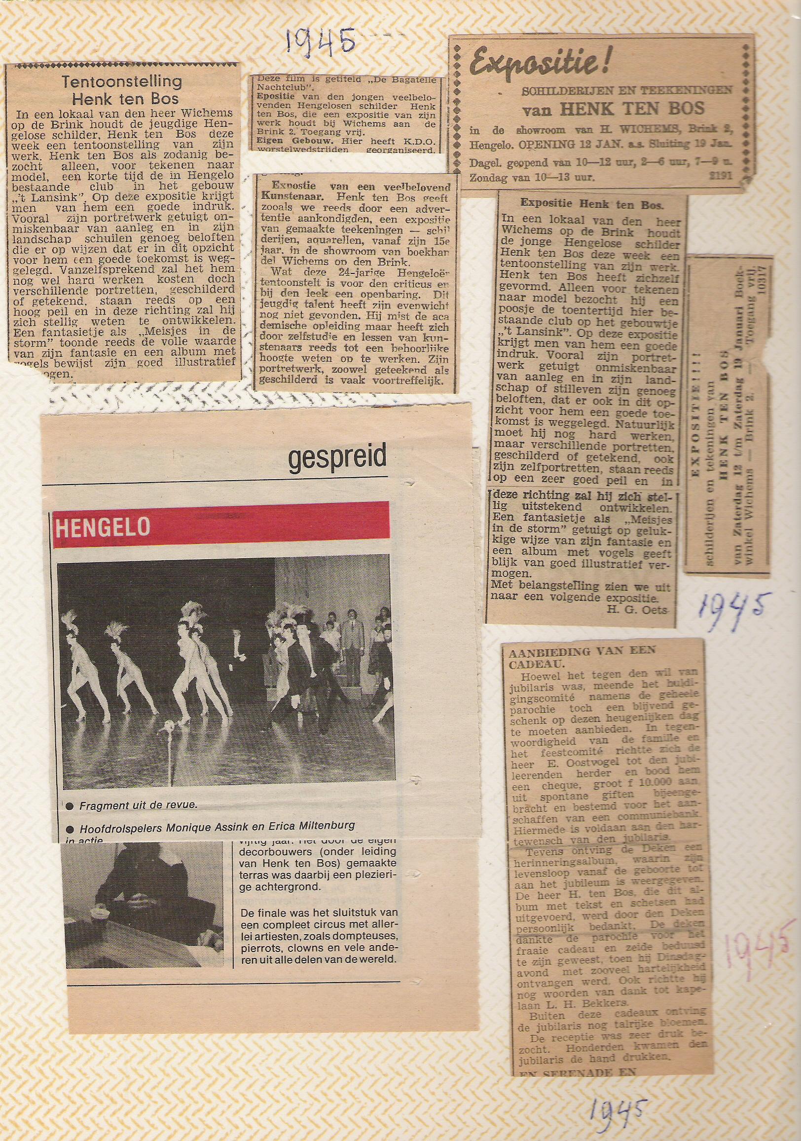 Aantal krantenknipsels uit 1945